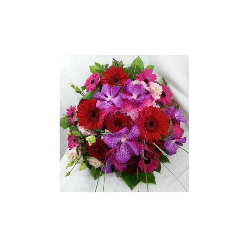 bouquet rond rose et rouge