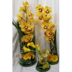 Three vases of flowers -...