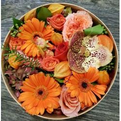 Boîte de fleurs orange