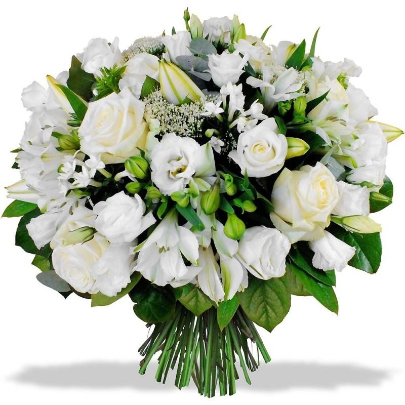 bouquet rond blanc avec lys