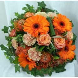 Orange and Pink Round bouquet